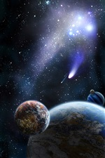 Planet and comet in space iPhone wallpaper