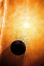 Planet explosion destruction iPhone wallpaper