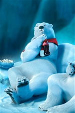 Polar bear drinking Coca-Cola iPhone wallpaper