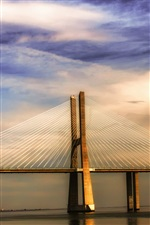 Portugal Lisbon river Tagus, bridge, sunset iPhone wallpaper