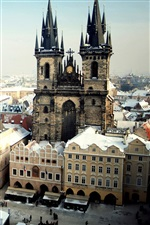 Prague, Czech Republic, city, Old Town Square, winter snow iPhone wallpaper