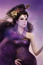 Purple fantasy oriental girl veil iPhone wallpaper