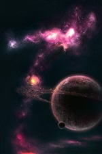 Purple nebula planetary asteroid iPhone wallpaper