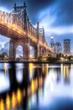 Queensboro Bridge, Manhattan, city night lights iPhone wallpaper
