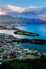 Queenstown, New Zealand, Lake Wakatipu, bay, mountains, city iPhone wallpaper
