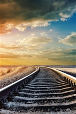 Railway, railroad rails, sky clouds, sunset iPhone wallpaper