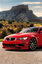 Red BMW M3 car at the road iPhone wallpaper
