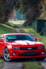 Red Chevrolet Camaro muscle car iPhone wallpaper