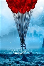 Red balloons in the blue doomsday style iPhone wallpaper