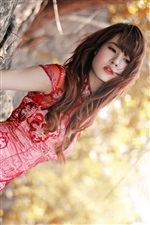 Red cheongsam asian girl iPhone wallpaper