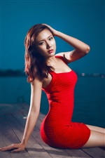 Red dress asian girl sitting at pier night iPhone wallpaper