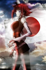 Red hair, red dress anime girl iPhone wallpaper