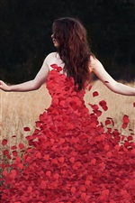 Red rose petals dress with girl iPhone wallpaper