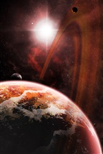 Red space, kosmos planet, stars iPhone wallpaper