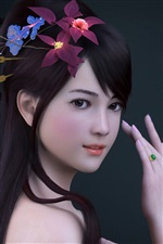 Render asian girl, flowers, ring iPhone wallpaper