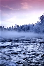 River winter snow iPhone wallpaper
