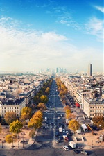 Romantic city, Paris, France, house, road, sky iPhone wallpaper