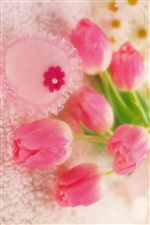 Romantic style, pink tulips flowers iPhone wallpaper