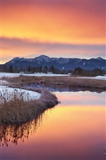 Warm winter, sunset landscape, snow, lake iPhone Wallpaper