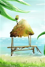 Palm beach cabins sea vector painting iPhone wallpaper
