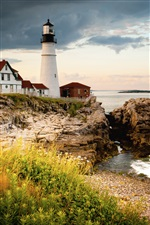 Portland Head Light, Cape Elizabeth, lighthouse, coast iPhone wallpaper