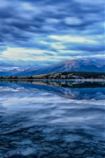Pyramid Lake, Jasper National Park, Alberta, Canada, sky, blue iPhone wallpaper