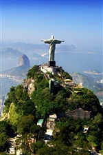 Rio, Brazil, statue, city, mountains iPhone wallpaper
