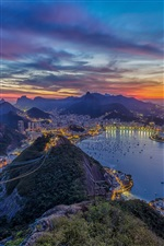 Rio de Janeiro, beautiful city night, lights, ocean, mountains iPhone Wallpaper