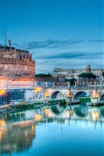 Rome, Italy, Tiber River, Castel, night iPhone Wallpaper