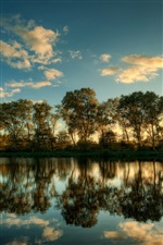 Schleswig Holstein, landscape, trees, water reflection iPhone Wallpaper