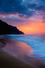 Sea beach sunset, purple sky, clouds, coast iPhone wallpaper