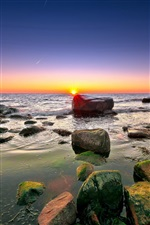 Sea, rocks, reefs, horizon, sky, clouds, dawn iPhone wallpaper