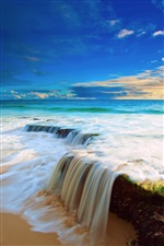 Sea, sky, clouds, beach water flow waterfall iPhone wallpaper