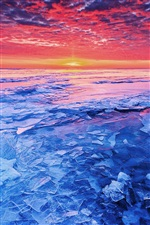 Sea sunset and shattered ice iPhone wallpaper
