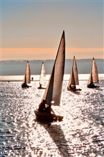 Sea water, sailboat, summer iPhone wallpaper