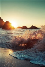Sea waves, spray, beach, rocks, sun iPhone Wallpaper