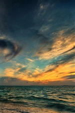 Sea, beach, night, sunset, clouds iPhone wallpaper