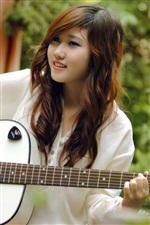 Smile guitar girl, music, asian iPhone wallpaper