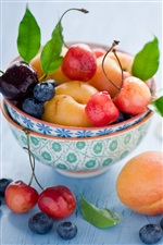 Still life fruit, apricots, cherries, blueberry, berries, leaves iPhone wallpaper