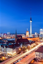 Alexanderplatz, Berlin, Germany, city, night, buildings iPhone wallpaper