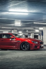 BMW M6 red car at parking iPhone wallpaper