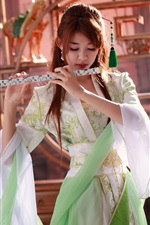 Beautiful chinese girl, music, flute iPhone wallpaper