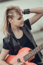 Blonde girl, guitar, music iPhone wallpaper