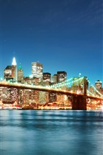 Brooklyn bridge, New York, city, night lights iPhone wallpaper