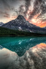 Canada, lake, mountains, sunset, water reflection iPhone Wallpaper