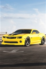Chevrolet Camaro RS yellow car iPhone wallpaper