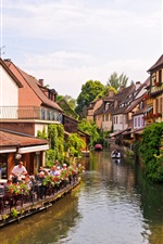 Colmar, Alsace, France, river, house iPhone wallpaper