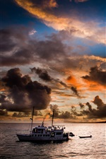 Evening, sea, sunset, boat, clouds iPhone wallpaper