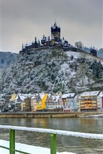 Germany, castle, fort, winter, house, river iPhone wallpaper