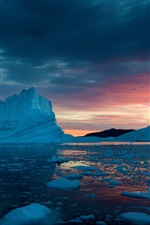 Greenland, snow, ice, sunset, sea iPhone wallpaper